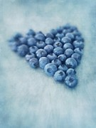 Heart Digital Art Posters - I love blueberries Poster by Priska Wettstein