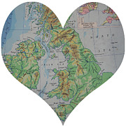Road Map Art - I Love England Heart Map by Georgia Fowler