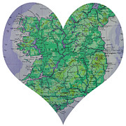 Road Map Art - I Love Ireland Heart Map by Georgia Fowler