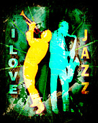 Saxophones Posters - I Love Jazz Poster by David G Paul