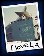 Baseball Art Print Art - I Love LA by Ricky Barnard