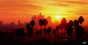 Los Angeles Skyline Digital Art Prints - I Love L.A. Print by Steve Huang