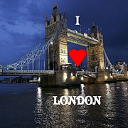 London England  Digital Art Originals - I Love London by Florene Welebny