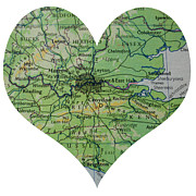 Road Map Art - I Love London Heart Map by Georgia Fowler
