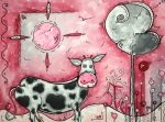 Pink Abstract Art Paintings - I LOVE MOO Original MADART Painting by Megan Duncanson