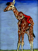 Child Pastels Framed Prints - I Love My Very Own Giraffe Framed Print by Cheryl Whitehall