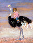 Child Pastels Framed Prints - I Love My Very Own Ostrich Framed Print by Cheryl Whitehall