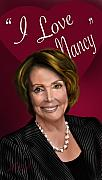 Democrat Painting Posters - I Love Nancy Poster by Reggie Duffie