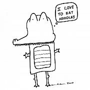 Cartoon Drawings - I Love Noodles Comic by Karl Addison