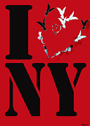 Affiche Mixed Media - I LOVE NY Heart by Anahi DeCanio