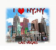 Las Vegas Mixed Media Posters - I Love NY NY Poster by Gravityx Designs
