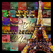 Floral Digital Art Originals - I Love Paris by Graphicsite Luzern