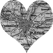 France Map Prints - I Love Paris in Black and White Print by Georgia Fowler