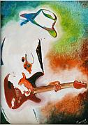 Guitar Painting Originals - I Love Rock by Tamanna  Sagar