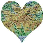 Road Map Art - I Love Scotland Heart Map by Georgia Fowler