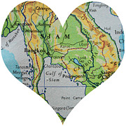 Rangoon Art - I Love Thailand Heart Map by Georgia Fowler