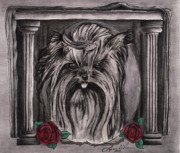 Yorkie Drawings - I Love Yorkies by Lonnie Niver