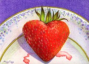 Strawberry Drawings Framed Prints - I Love You Berry Much Framed Print by Nancy Cupp