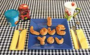 Loving Cup Posters - I Love You Breakfast Poster by Erik Tanghe