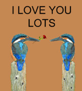 Kingfisher Mixed Media - I Love You Lots kingfishers by Eric Kempson