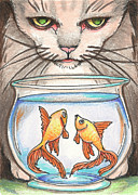 Kitten Drawings - I Loves Fishes by Amy S Turner