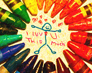 Crayon Posters - I Luv U This Much Poster by Wingsdomain Art and Photography