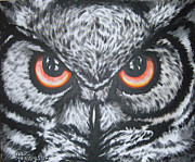 Bird Of Prey Art Paintings - i m watching U by Annette Jimerson