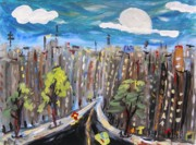 Highway Drawings - I Paint at Night by Mary Carol Williams