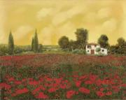 Cypress Framed Prints - I Papaveri E La Calda Estate Framed Print by Guido Borelli
