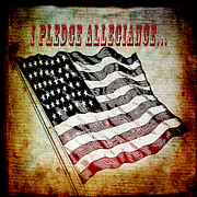Flypaper Textures Mixed Media Framed Prints - I Pledge Allegiance Framed Print by Angelina Vick