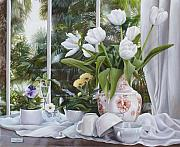 Kitchen Window Paintings - i tulipani di Veronique by Danka Weitzen