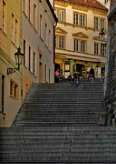Stairs Framed Prints - I Walked the Streets of Prague Framed Print by Christine Till