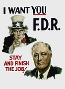 Franklin Mixed Media Metal Prints - I Want You FDR  Metal Print by War Is Hell Store