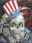 Murals Drawings Prints - I Want You Print by Rick Hill
