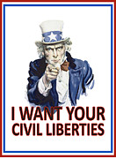 """war Poster"" Digital Art Framed Prints - I Want Your Civil Liberties Framed Print by Matt Greganti"