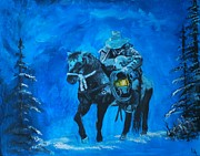 Snowy Night Painting Metal Prints - I Will Carry You Metal Print by Leslie Allen