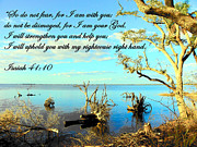 Acrylic Seascape Digital Art Posters - I Will Uphold You Poster by Sheri McLeroy