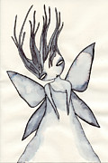 Fairies Drawings Posters - I Wonder Poster by Lindsey Cormier