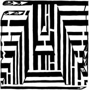 Maze Art Mixed Media Prints - I would like to maze a vowel Print by Yonatan Frimer Maze Artist