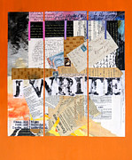 Author Mixed Media Prints - I Write Print by Dawn Chevoya