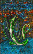 Dragon Fly Drawings Posters - Iammyaza In His Lair Poster by Al Goldfarb