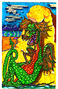 Asleep Mixed Media - Iammyaza The Dragon by Al Goldfarb