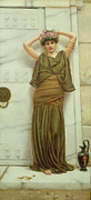 Lady In Red Painting Framed Prints - Ianthe Framed Print by John William Godward