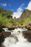 Ron Ron Framed Prints - Iao Valley Falls Framed Print by Ron Dahlquist - Printscapes