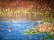 In Earth Tones Paintings - Ibis Pond by Brenda Luczynski
