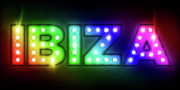 Signage Framed Prints - Ibiza in Lights Framed Print by Michael Tompsett