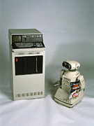 Crisp Prints - Ibm 5110 And Omnibot 2000 Robot Print by Volker Steger