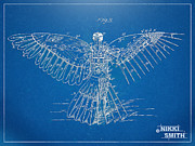 Blue Print Posters - Icarus Human Flight Patent Artwork Poster by Nikki Marie Smith