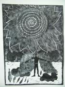 Lino Cut Drawings - Icarus by Ksenija Pecaric