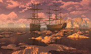 Sailing Ship Digital Art Prints - Ice Accord Print by Dieter Carlton